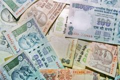 Close-up of indian money. Top view of indian rupees stock photo