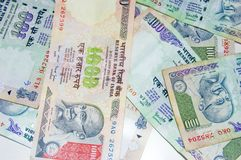Close-up of indian money. Top view of indian rupees Royalty Free Stock Image