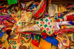 Close up of Indian Traditional Women Sari clothing on Market. Buying Wedding Sari in Jaipur. Colorful Beautiful Sari Royalty Free Stock Images