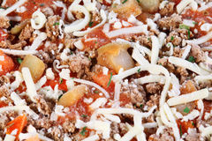 Close-up of individual frozen pizza Royalty Free Stock Images