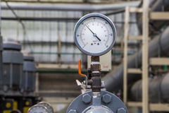 Close up of industrial pipes and measurer of compression,gauge Stock Photography