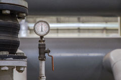 Close up of industrial pipes and measurer of compression,gauge Stock Photos