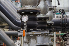 Close up of industrial pipes and measurer of compression,gauge Royalty Free Stock Photos