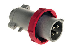 Close up Industrial Plug with Red Plastic Ring royalty free stock image