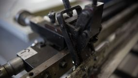 Close-up Industrial Printing Press Puts Silver Paint On The Canvas stock photos