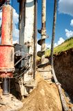 Close-up of industrial rig, drilling holes in the ground Stock Photography