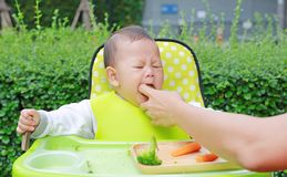 Close-up infant baby boy sitting on kid chair eating with something stuck in his mouth and mother help to keep out.  royalty free stock photos