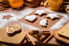 Close-up for the ingredients of Christmas cookies Royalty Free Stock Photography