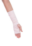 Close-up injured arm wrapped in an Elastic Bandage Stock Image