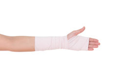 Close-up injured arm wrapped in an Elastic Bandage Stock Photography