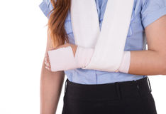 Close-up injured arm wrapped in an Elastic Bandage Stock Images