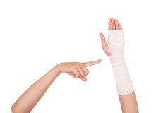 Close-up injured arm wrapped in an Elastic Bandage Royalty Free Stock Photos