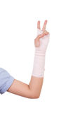 Close-up injured arm wrapped in an Elastic Bandage Royalty Free Stock Photo