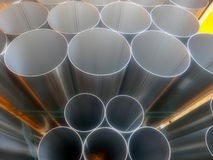 Close up from inox steel large pipes Royalty Free Stock Photos