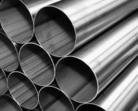 Close up from inox steel pipes Royalty Free Stock Images