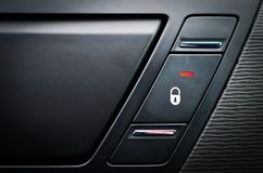 Close up inside car door lock button Stock Image