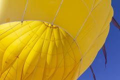 Close up of inside of colourful yellow hot air balloon royalty free stock photos