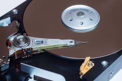 Close up inside of computer disk drive HDD Royalty Free Stock Photography