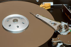 Close up inside of computer disk drive HDD Royalty Free Stock Images
