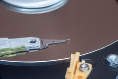 Close up inside of computer disk drive HDD Stock Image