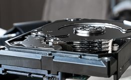 Close up inside of computer hard disk drive Royalty Free Stock Images
