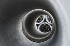 Close up of inside of concrete pipe Royalty Free Stock Images