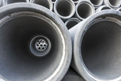 Close up of inside of concrete pipe Royalty Free Stock Image