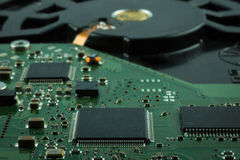 Close up inside of Hard disk drive HDD . Royalty Free Stock Photo