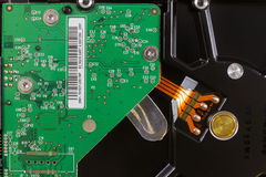 Close-up inside a hard disk Stock Photography