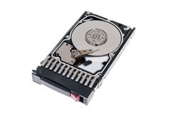 Close up inside of 2.5` hot plug SAS computer disk drive HDD in tray isolated Royalty Free Stock Photo