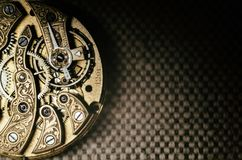 Free Close Up Inside Mechanical Vintage Watch. Handmade Engraving. Concept Eternity, Teamwork. Soft Focus. Free Space For Text. Macro. Royalty Free Stock Image - 162270756