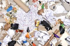 Inside of a paper recycling container. Close up of a inside of a paper recycling container Stock Images