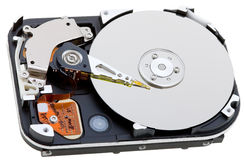 Close-up inside view of hard disk Stock Photo