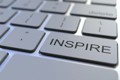 Close-up of INSPIRE key on the keyboard. 3D rendering. Modern computer keyboad close-up 3D rendering stock photo