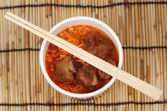Close up Instant noodle Spicy rib pork Stock Photos