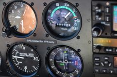 Close up of instrument panel in an aircraft royalty free stock image