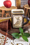 Close up of interesting cup of tea with message on a wooden tabl Stock Photos