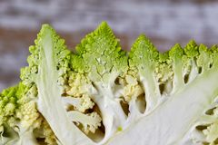 Close up of interesting shape roman cauliflower Brassica oleracera.  stock photo