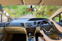 Close up interior driver inside  bright car. Royalty Free Stock Images
