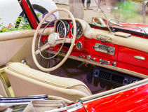 Close up interior Vintage retro classic car Stock Photo