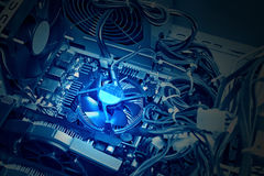 Close-up of the internal system block, blue tone, light effect Royalty Free Stock Photo