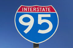 Close Up of Interstate Highway 95. Going North and South Royalty Free Stock Photo