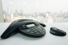 Close up IP conference phone with wireless speaker on table. For meeting Royalty Free Stock Photos