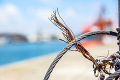 Close up on iron cable on the ship Stock Photography