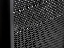 Abstract metal grid background / Computer Case. Close up Iron Perforated Sheet stock photography
