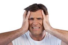 Close up of irritated mature man clenching teeth Stock Photo