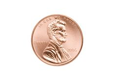 Close up isolado moeda de um centavo Fotografia de Stock