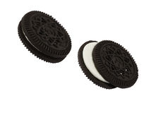 Close up isolated black cookies Stock Photo