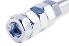 Close up isolated bolts and nuts Royalty Free Stock Image