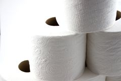 Close up on Isolated Toilet Papers forming a Pyramid Royalty Free Stock Image